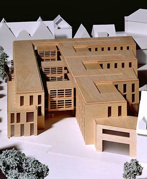 Schrägaufnahme eines Architekturmodells