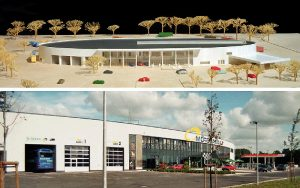Architekturmodell des Motorparks Lohne und das fertige Objekt